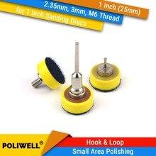 Almofada lixadeira para parte traseira, haste Polegada 25mm 2.35mm ou rosca m6 3mm, haste para 1, 1 discos de lixa de gancho e laço para acessórios dremel