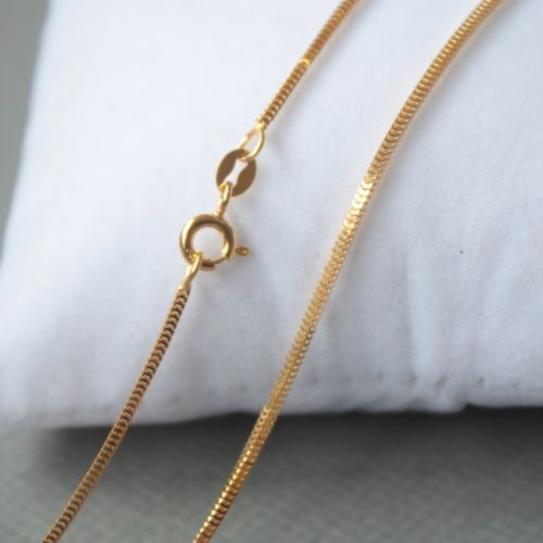 Pure 18K Yellow Gold 1.0mm Milan Box Link Chain Necklace 40cm Length Au750 1