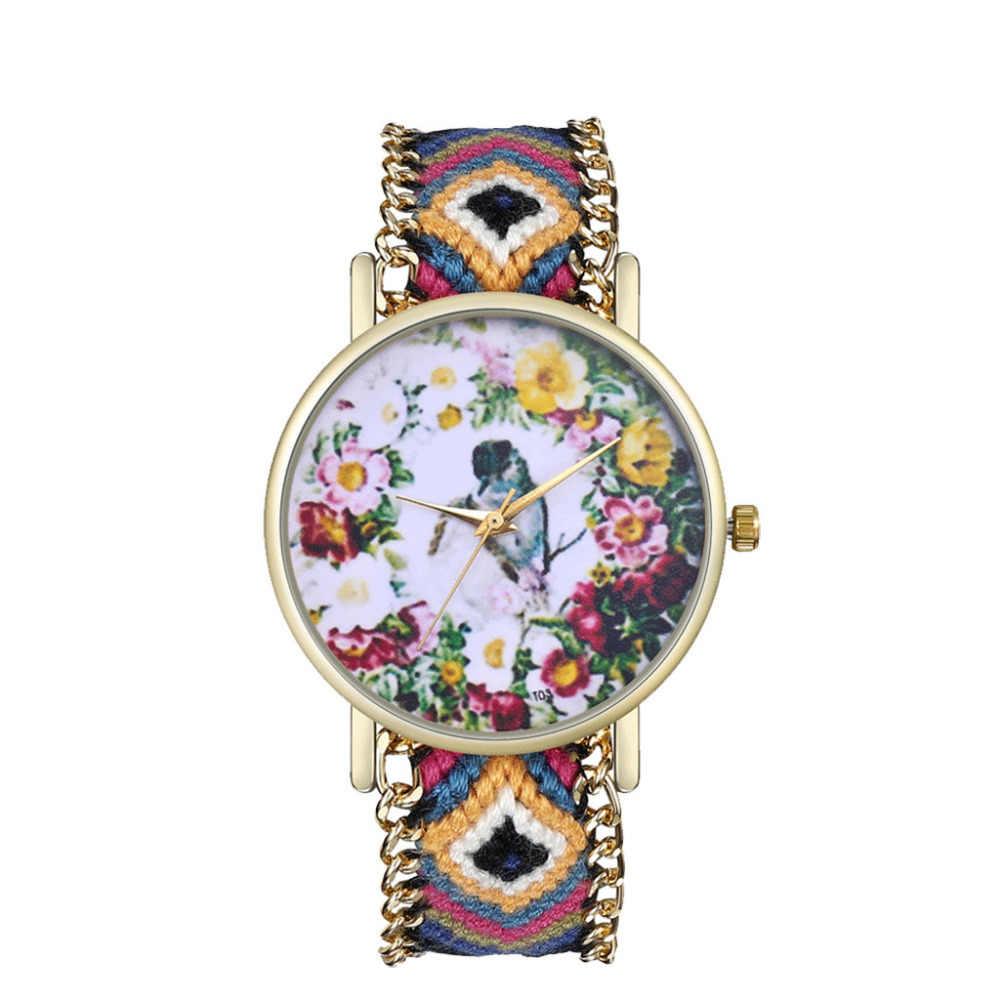 Women Girl Handmade Vintage Bird Fllower Knitted Braided Weaved Rope Band Bracelet Quartz Dial Wrist Watch Watches Clock N50