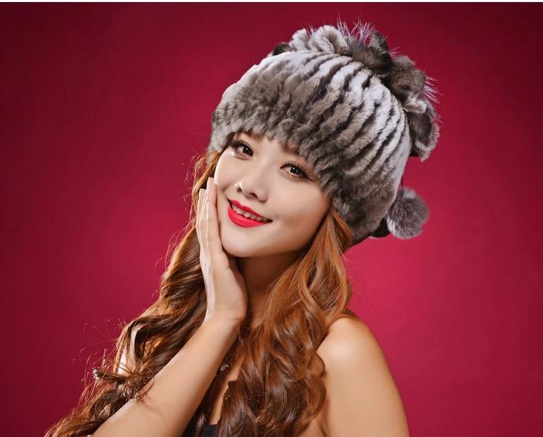 Fashion 100% Real Rex Rabbit Fur Hats For Women Hat Caps Skullies Winter Warm Ear Knitted Rex Rabbit Fur Beanie DL6165