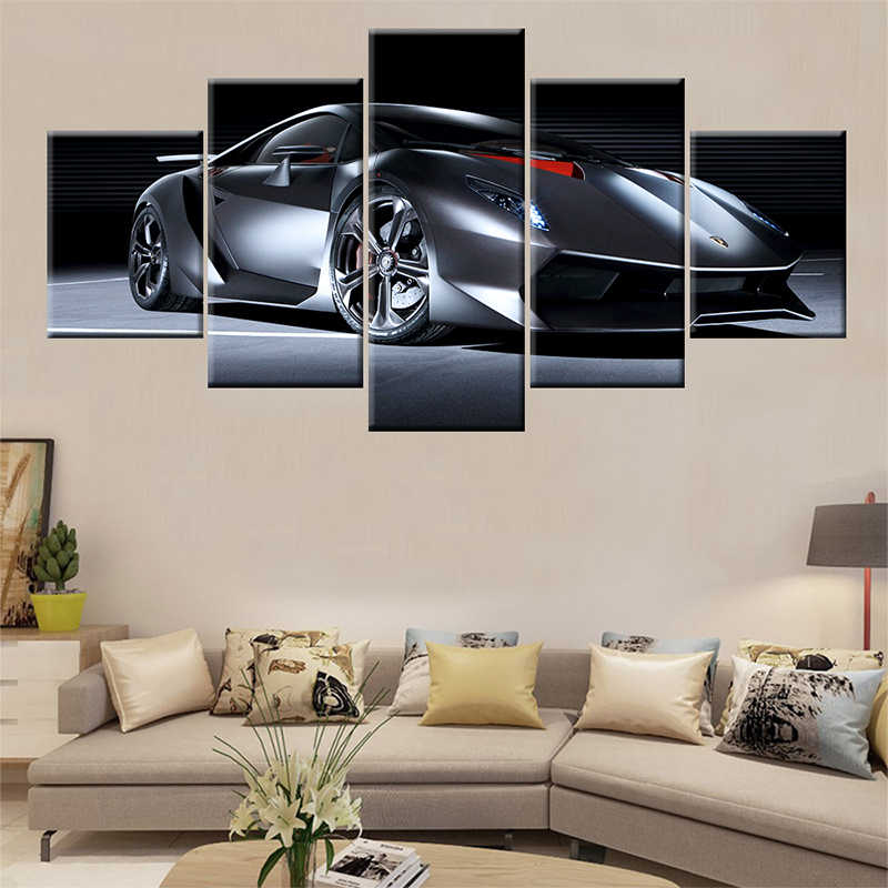 Canvas Paintings Sports Car Lamborghini Wall Art Framework Home Decor 5 Pieces HD Print Decorative Picture Living Room