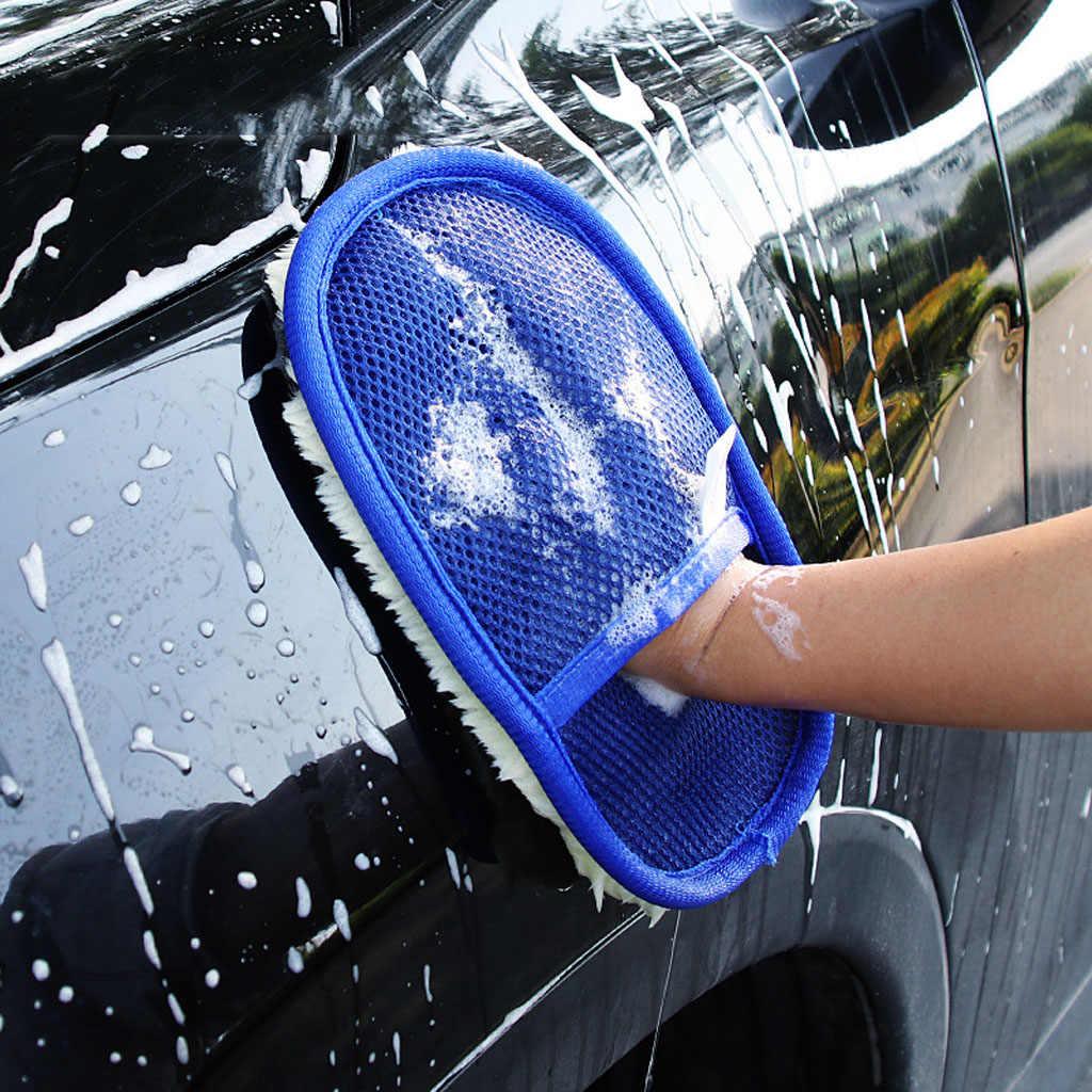 1 pc 235 × 150 ミリメートルカークリーニンググローブ車ウール洗浄ブラシミトンソフト洗車グローブ自動車ケア洗濯ツール
