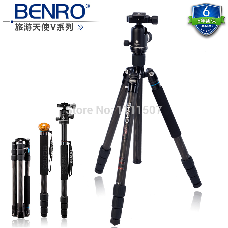wholesale DHL gopro Benro C2282TV2 carbon fiber tripod monopod fold change alpenstocks Carrying Bag Kit, Max loading 18kg dhl gopro benro a2192tb1 tablet series travel portable tripod aluminum tripod kit wholesale