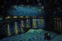 Ручная роспись холст Звездная ночь над роной Ван Гог Картина маслом пейзажи Домашний Декор без рамы