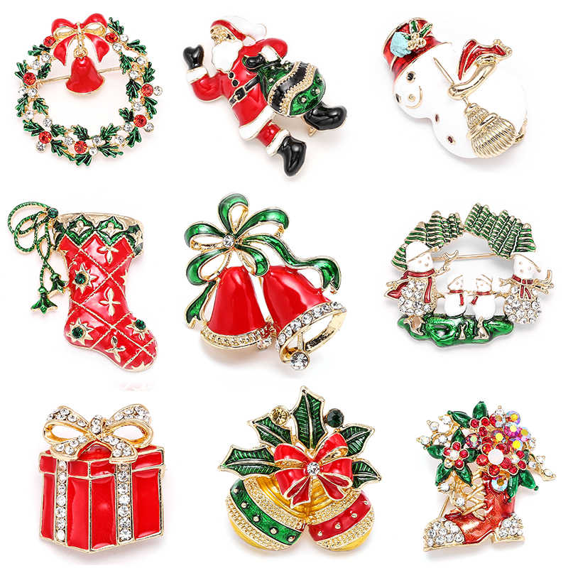 New Year Fashion Christmas Boots Brooch Santa Claus Shoes Carriage Rhinestone Brooch Jewelry for Christmas Color Stone Brooch