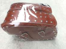 Free shipping motorcycle conversion Bag side edging box hanging box side saddle bag Kit Bag bags / brown with rivets