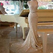 Wunderschöne Pailletten Meerjungfrau Abendkleid 2016 Spaghetti Straoless V-ausschnitt abendkleider prom Kleid frauen formale Kleid Z162