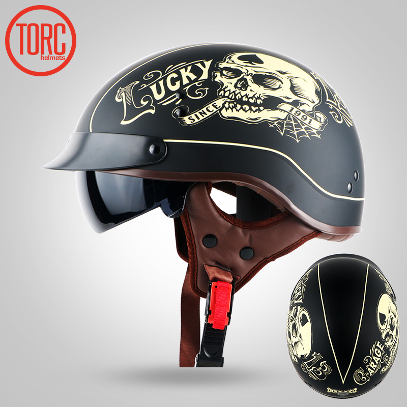 TORC HARLEY Motorcycle Helmet with sunglasses, warm ear pad Jet retro Motorbike Motocross half helmet pilot scooter helmet DOT