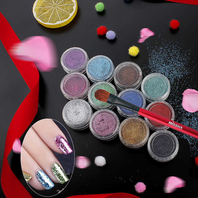 BearPaw 16colors 1 bottle Laser Shinning Pigment Nail Art Glitter Powder Tips for Body Craft Polish Salon 3d Nail Art Decoration