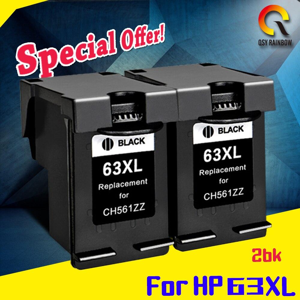 2 Pack bk Compatible for HP63 hp 63XL hp DESKJET 3632 Officejet 4652 4655 ENVY 4522