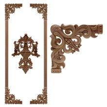 VZLX roble europeo de madera Floral talla apliques vintage decoración accesorios, Puerta de muebles de gabinete de figuras