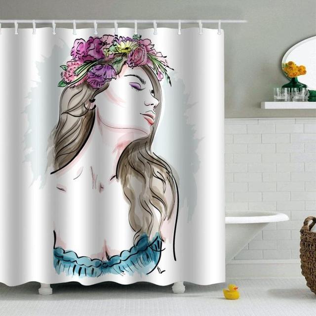 Flower Beauty Shower Curtain Cartoon Shower Curtain Waterproof ...