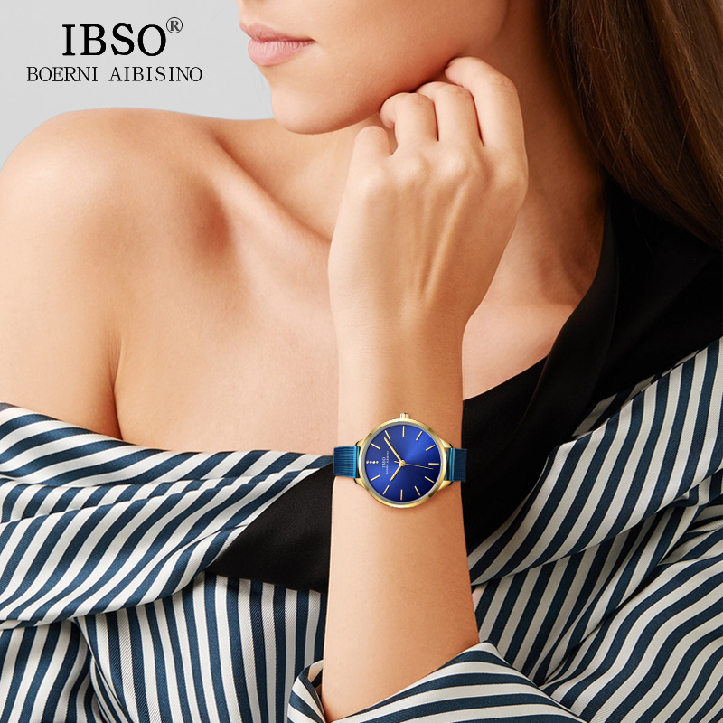 IBSO Luxury Stainless Steel Quartz Watch Women Blue Wrist Watch Reloj Mujer 2018 Top Brand Crystal Ladies Bracelet Watches reloj mujer gold watch women luxury brand new geneva ladies quartz watch gifts for girl stainless steel rhinestone wrist watches