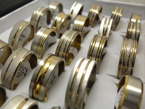 Image 5 - 100pcs Gold Line Top MIX Mens Fashion Stainless Steel Rings Man Cool Jewelry Hot sale Wholesale Jewelry Lots