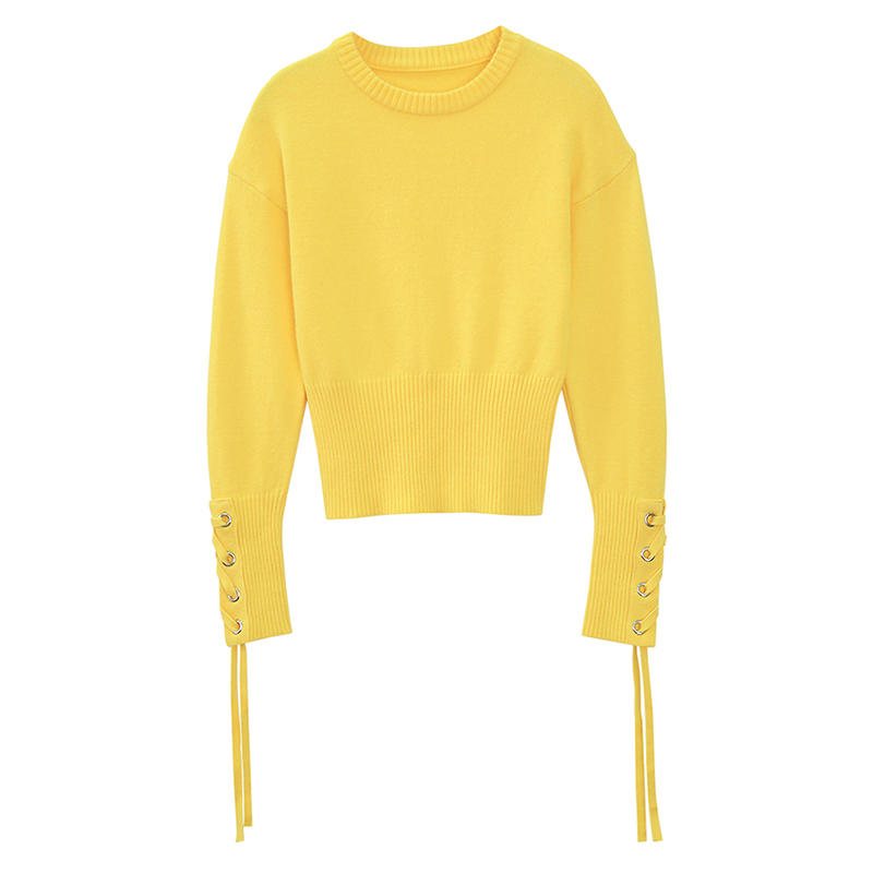 2018 Pullover Poncho Women Sweater Hot Sale Cotton Acetate Computer Knitted Pull New Woman Cuff Cross Strap Tie Collar Round