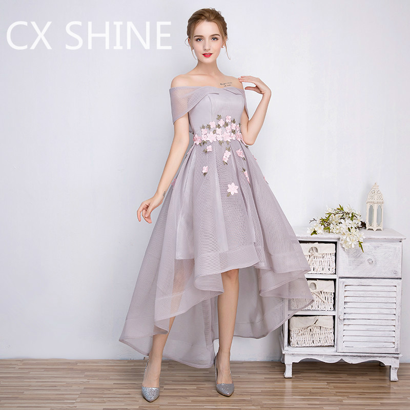 Aliexpress.com : Buy CX SHINE Gray High Low evening dresses flower ...