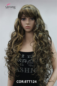Image 5 - StrongBeauty Long Thick Wavy Black,Brown,Blonde Highlighted Synthetic Wig Women Wigs
