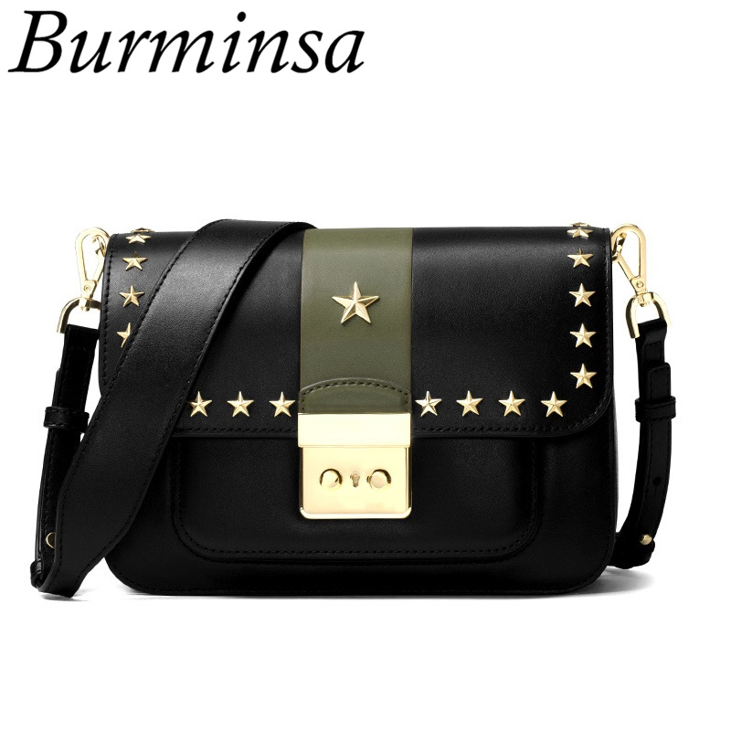 Burminsa Rivet Star Lock Genuine Leather Bags Wide Strap Shoulder Bags Designer Hand Bags High Quality Crossbody Bags For Women leftside fashionable 2017 women tassel designer rivet boston bag female handbag woman hand bags shoulder bag with wide strap