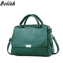 Bolish Casual Women Soft Pu Leather Handbag Female Shoulder Bag Messenger Larger Size Winter