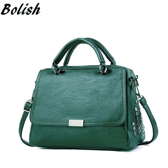 Bolish Casual Women Soft Pu Leather Handbag Female Shoulder Bag Messenger  Bag Larger Size Winter Women 7b191d7624