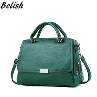 Bolish Casual Women Soft Pu Leather Handbag Female Shoulder Bag Messenger Bag Larger Size Winter Women Bag