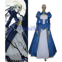 Free Shipping Fate Stay Night Saber Cosplay Costume Dress With Panniers Custom Size