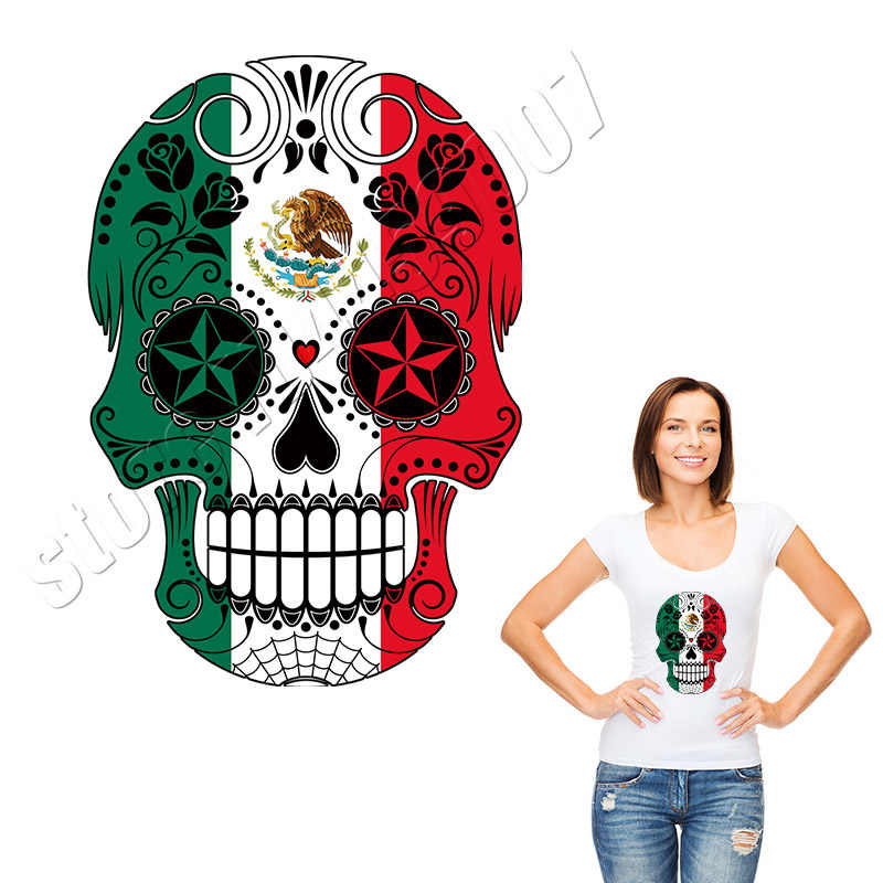 Creative Skull Patches ColorBlock Fashion Iron Op Stickers Wasbare DIY Parches Custom Applique Voor Man T-Shirt Decal Accessoire