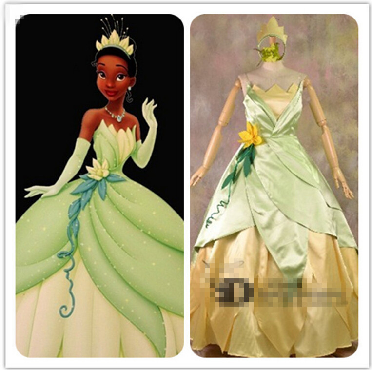 Tiana Princess Dress Costume Party Dresses The Princess And The Frog Cosplay