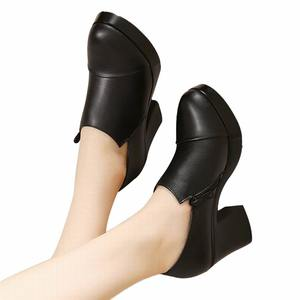Image 3 - Женские туфли на толстом высоком каблуке, модные туфли из натуральной кожи, туфли лодочки из воловьей кожи на платформе, весна осень 2020