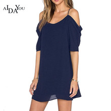 AIDAYOU SUMMER DRESS WOMEN 2018 NEW FASHION CASUAL CHIFFON SHORT SLEEVE OFF SHOULDER FOR BEACH SOLID DRESSES OUC3204