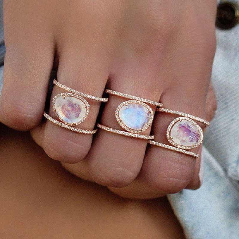 FUNIQUE 1pc Women Fashion Irregular Natural Moonstone Rings Rose Gold Alloy Crystal  Rings Wedding 2019 Bijoux Ring Jewelry