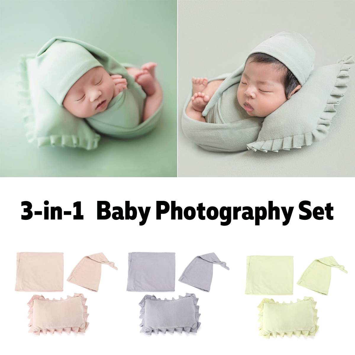 3 pieces set newborn photo props baby photography background cloth newborn stretch wrap hat photoshoot pillow photograph blanket