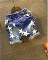 2016 hot summer design light blue star printed kids short pants boys elegant jeans denim shorts for teen children  2-7years