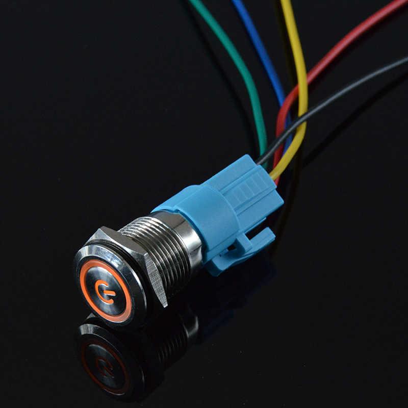 16 мм 9-24 в 12 В 110 В 220 В водонепроницаемый металлический кнопочный переключатель со светодиодный светильник Выключатель без фиксации 1NO 1NC широкое напряжение