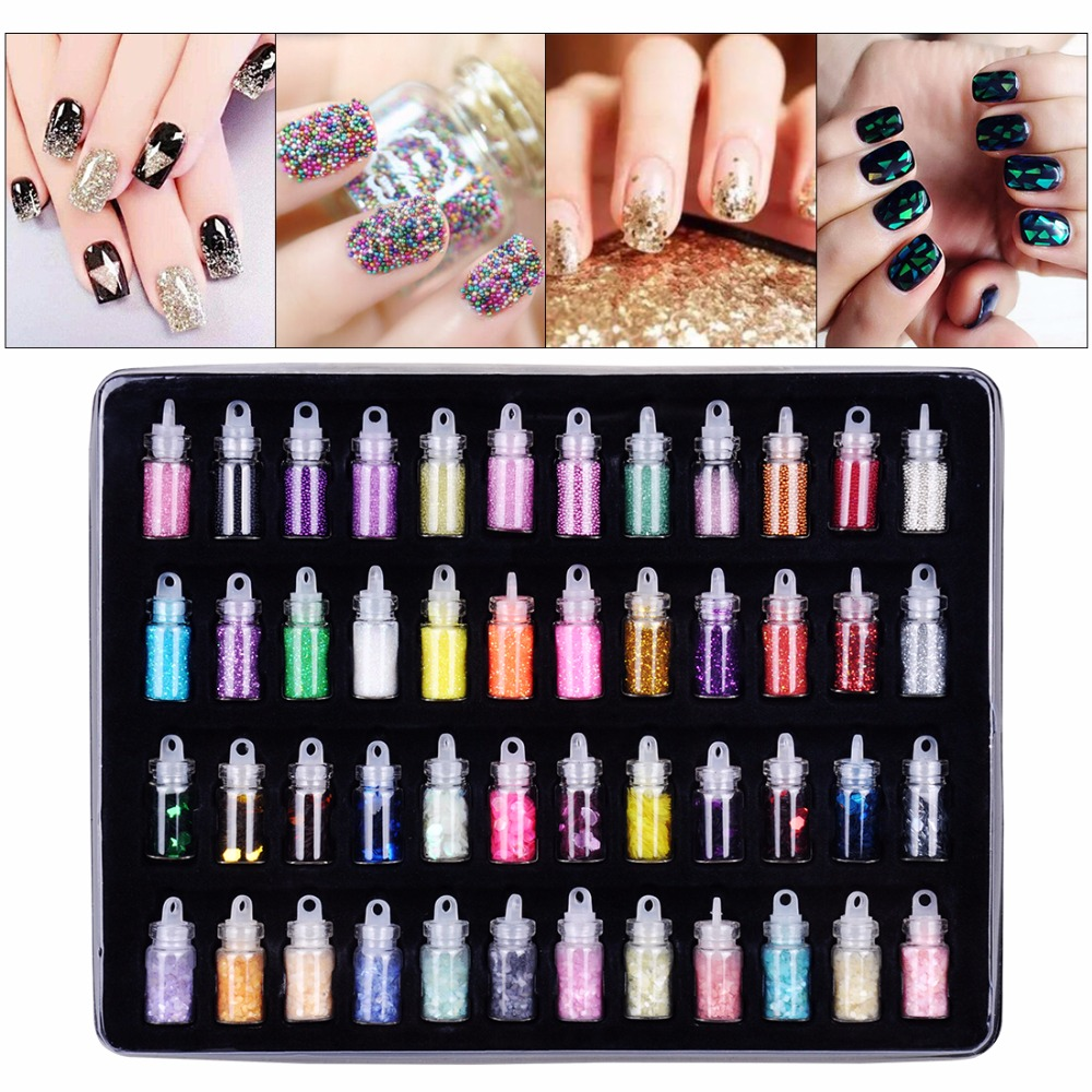 48 Bottles/Set Arcylic Nail Glitter Set Dust Powder for Nail Art Tip Decoration Rhinestone Manicure Nail Art Tools Wholesale 12 bottle high quality nail glitter set multicolor nail powder dust women nail tip decoration materials manicure material