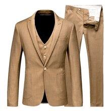 Litthing 2019 New Men 3Pc (jacket + Vest + Trouser) Male Business Dress Slim Fit Thin Spring Suit Solid Blazer Suit Wedding Suit