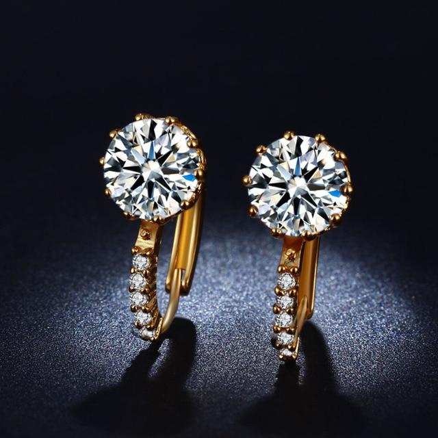 Hot Elegant Fashion Imitation Diamond Earrings High Grade Gold Plated New Super Flash Dove Egg