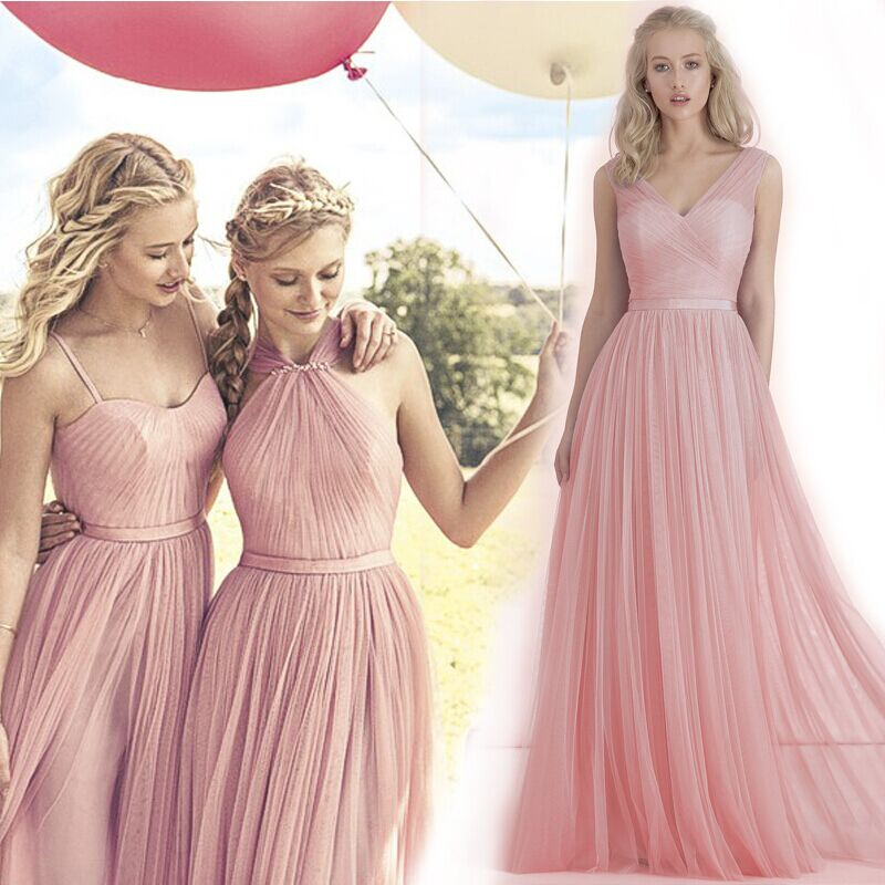 2015 Cheap Bridesmaid Dresses under 50 Tulle Long Nude Pink Blush ...