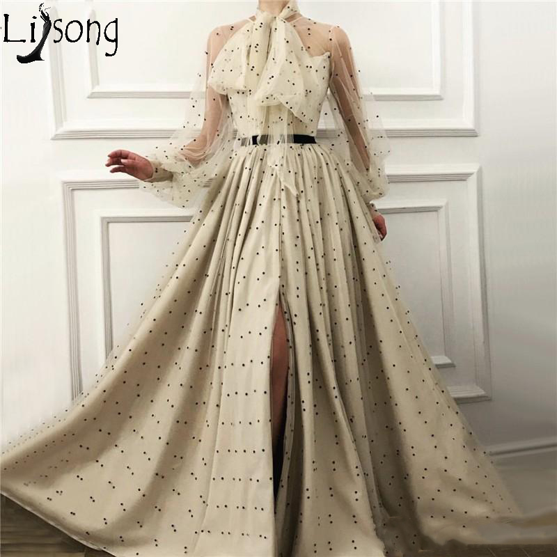 Light Champagne   Prom     Dresses   2019 Illusion Long Sleeve Evening   Dress   A Line Front Split Black Dot Special Occasion Party Gowns