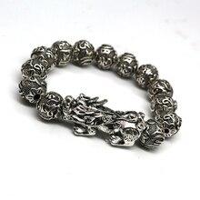 Цена по прейскуранту завода модные серебряные круглые бусины буддизм Ом Мани Падме Хум бусины бисерный браслет