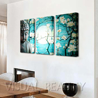 FREE SHIPPING Buddha Painting And Flower Canvas Arts 3 Panels Unframed 30x60cmx3pcs