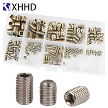 Set Grub Hex Socket Head Cap Screw Metric Hexagon Headless Machine Bolt Set Assortment Kit 304 Stainless Steel M3 M4 M5 M6 M8