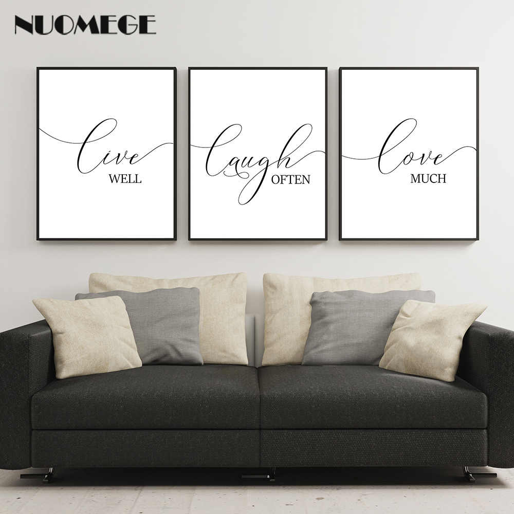 Motivational Wall Art Live Laugh Love Poster and Prints Living Modern Black English Canvas Art Painting Picture for Room Decor