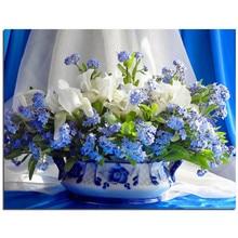 Blau und weiß porzellan 5D Diamant Stickerei Kreuzstich Blumen platz Voller Diamant Mosaik Bild Klebte Hand Decor