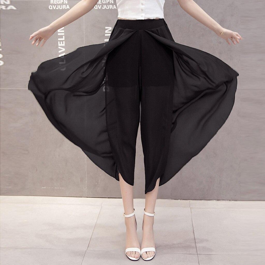 Women Summer Solid Chiffon Flare Elastic High Waist   Wide     Leg     Pants   Plus Size Calf-Length   Pants   high quality W419