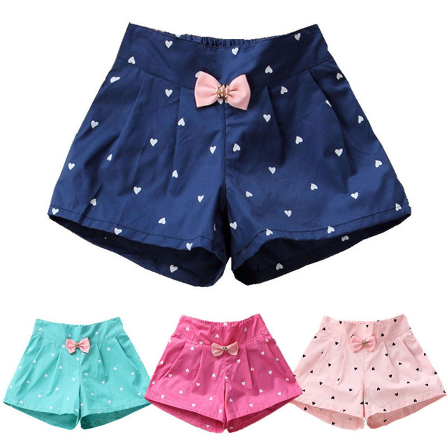 Girls' Cute Polyester Shorts with Bow