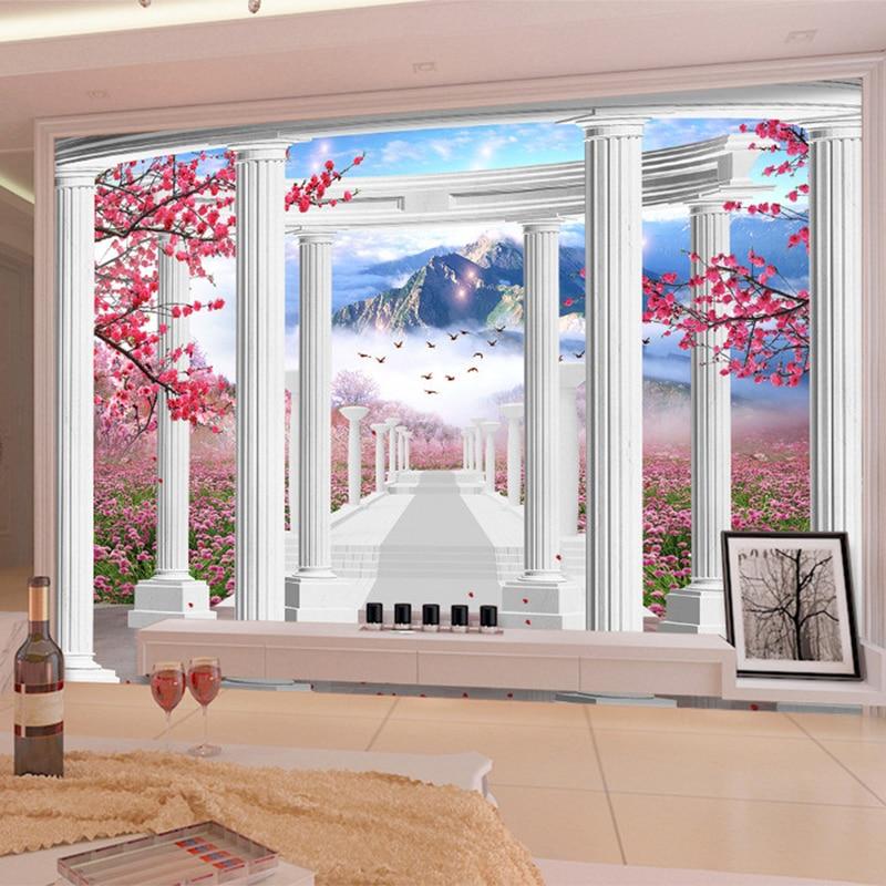 Custom 3D Wall Mural Peach Blossom Flowers Field Photo Wallpaper 3D Space Window Views Bedroom TV Backdrop Wall Papel De Parede
