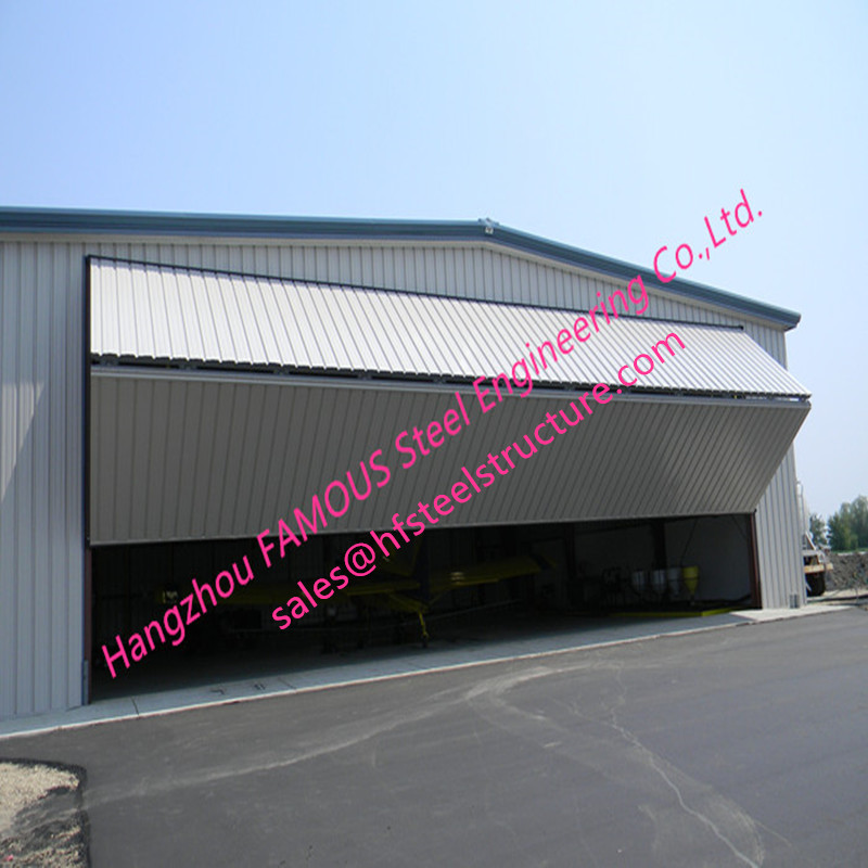 Dual Panel Hydraulic Hangar Door Upper Folding Aircraft Garage Door With Hard Metal Sandwich Panel