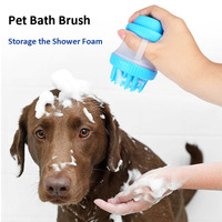 2 In 1 Rubber Hond Kat Bad Wassen Borstel Hond Grooming Reiniging Massage Borstel Shampoo Opbergdoos Hond Douche Kam Voor huisdier