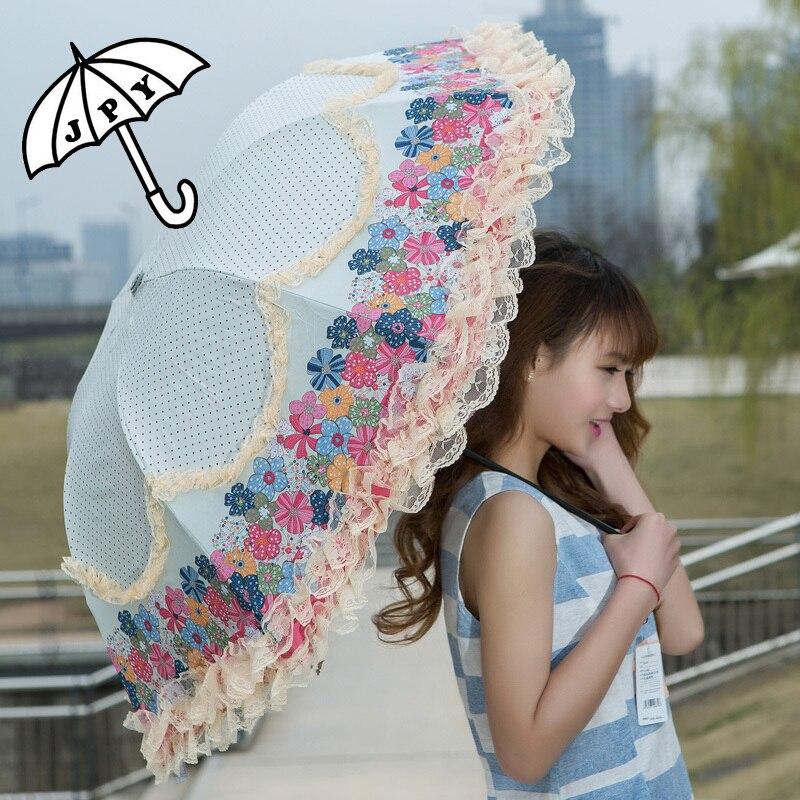 النساء مظلة المطر الشمس مزدوجة الرباط زهرة البارسول الفينيل anti للماء 3 للطي الرياح مقاومة المظلات الدانتيل الإناث